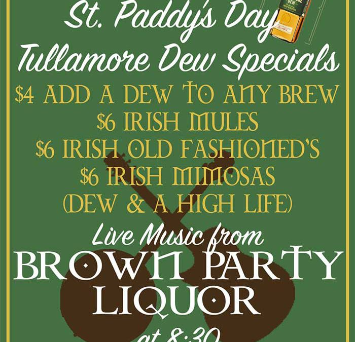 St. Paddy's at Sidecar featuring live music from Brown Party Liquor